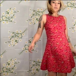 Vintage floral rayon red midi dress